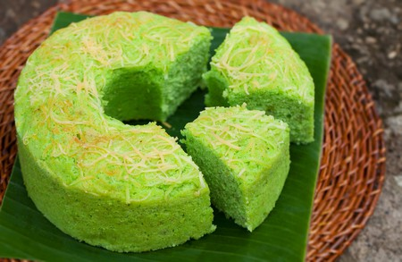 Pandan chiffon cake is a popular Singaporean dessert