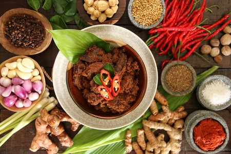 Rendang Padang. Spicy beef stew from Padang, Indonesia.