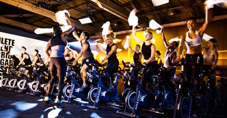 A class at SoulCycle in Williamsburg, Brooklyn