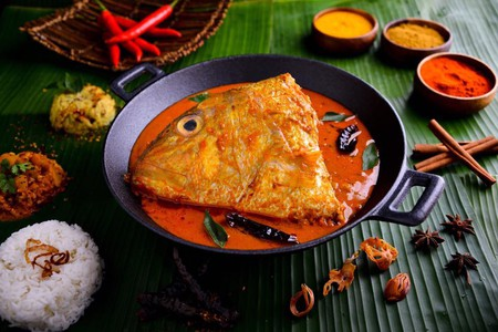 The renowned fish head curry