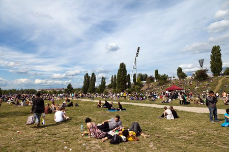 Spring afternoon at Mauerpark in East Berlin