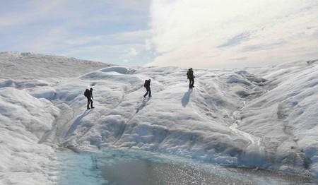 Scientists explore a Greenland glacier