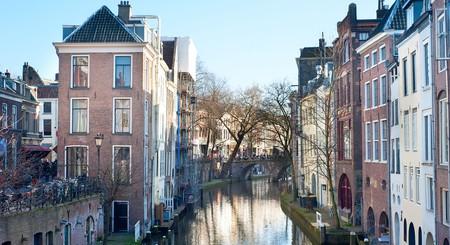 A canal runs through the old town of Utrecht