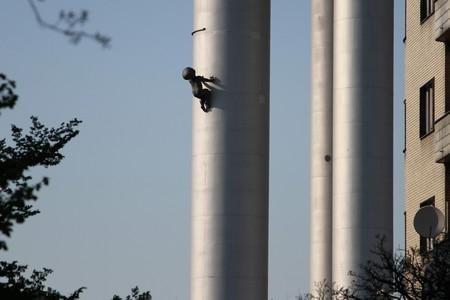 David Cerny's Miminka Babies climb up the Žižkov television tower in Prague