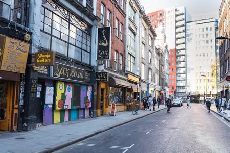 Music shops on Denmark Street, London