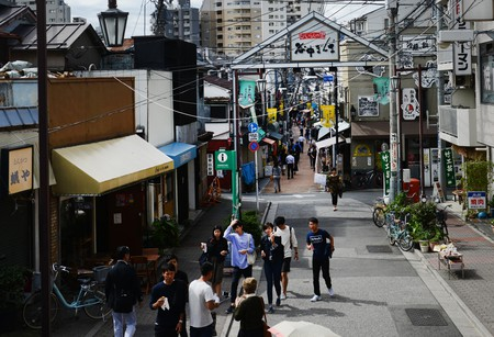 Yanaka Ginza is lined with shops, restaurants and food stalls