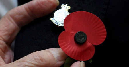 Poppies are worn in the run-up to Remembrance Day