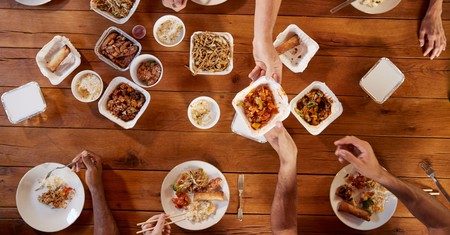 Friends share Chinese takeout