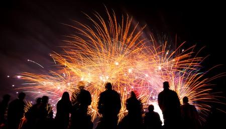 Group of people watching firework display