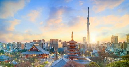 View of Tokyo skyline with Sensoji Temple and Tokyo Skytree