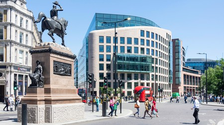 An equestrian statue of Prince Albert presides over Holborn Circus