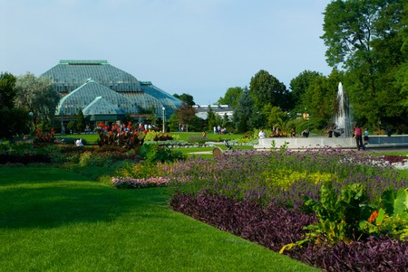 Lincoln Park Conservatory and perennial gardens for butterflies, Chicago, Illinois, USA