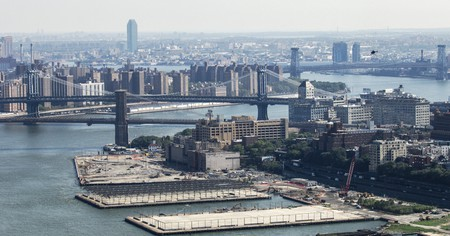 Aerial view of Brooklyn Heights, Brooklyn and Manhattan Bridge on East River, New York City, USA.