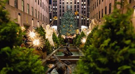 Rockefeller Center Christmas Tree at Night, New York City.