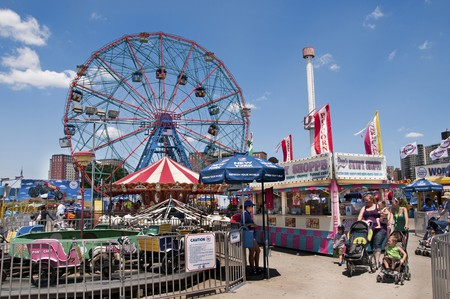 Coney Island in Brooklyn is lined with amusement park rides