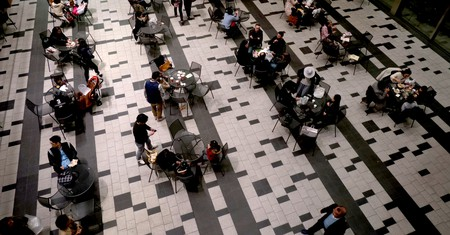 Tourists at a bar in shopping mall, Roppongi Hills