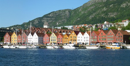 Bryggen, a UNESCO World Cultural Heritage site, sits along the harbour of Bergen