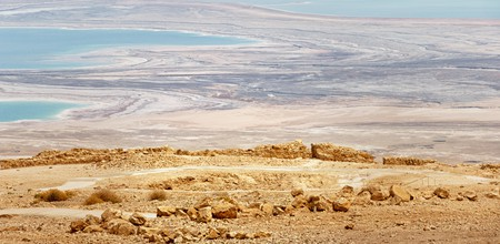 View from the top of Masada on the Judaean Desert with the Dead Sea