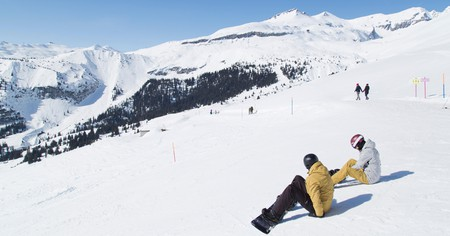 These snowboarders in Switzerland practically have the slopes to themselves