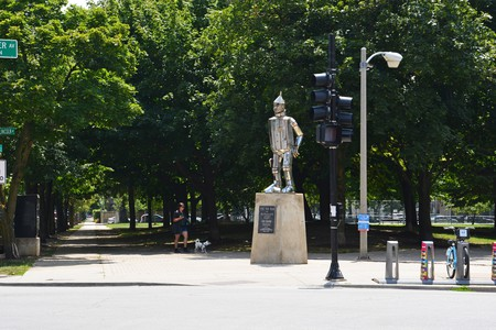 The Tin Man statue greets visitors at the corner of Webster and Lincoln Avenues at the entrance of Oz Park in Chicago's Lincoln Park neighborhood