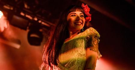Mon Laferte smiles during a concert in 2016 in Las Vegas