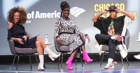 Mandatory Credit: Photo by Cindy Barrymore/REX/Shutterstock (9164741q) Elaine Welteroth, Bozoma Saint John, and Lena Waithe Chicago Ideas Week, Day 3, USA - 19 Oct 2017