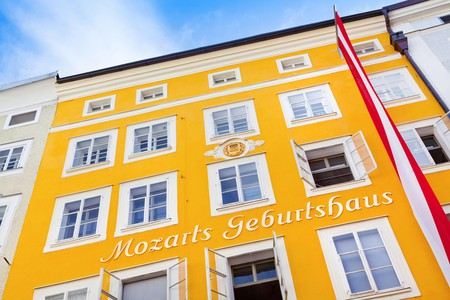 Birth house of famous composer Wolfgang Amadeus in Salzburg, Austria