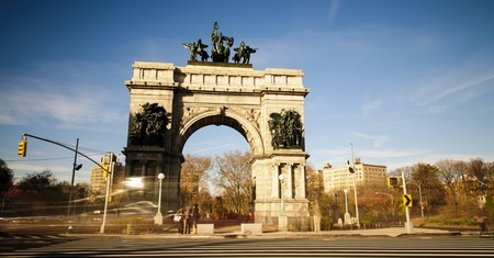 The Soldiers' and Sailors' Arch at the Grand Army Plaza in Brooklyn is a triumphal arch dedicated 'To the Defenders of the Union, 1861–1865'