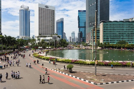 People enjoy the car free day in Jakarta, Indonesia