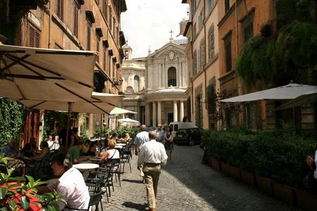 Della Pace street and Chiostro del Bramante, Rione Ponte district, Rome, Lazio, Italy