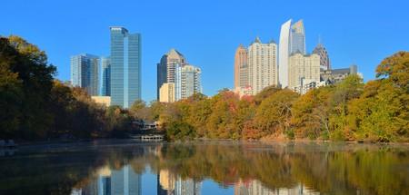 Midtown Atlanta, Georgia viewed from Piedmont Park in the autumn.