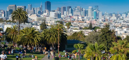 San Francisco skyline from Mission Dolores Park, California.