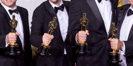 Winners show off their awards at the 86th Academy Awards in Los Angeles