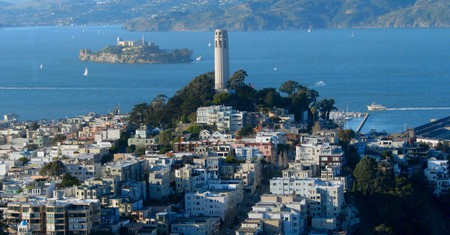Coit Tower atop Telegraph Hill in San Francisco, California, is one of the city's top attractions