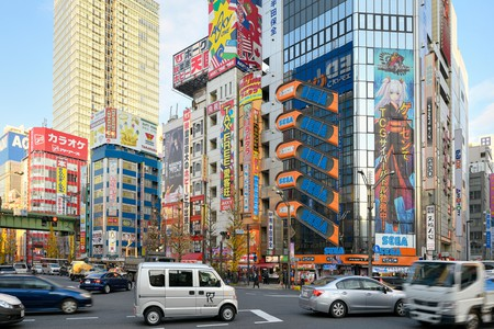 Cityscape of Akihabara district in Tokyo