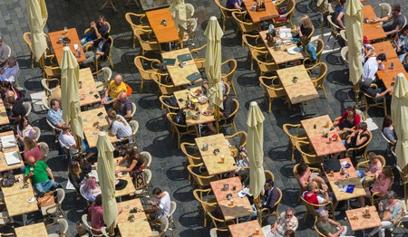 Al fresco diners at a restaurant in Prague, which has some great vegetarian and vegan places to eat