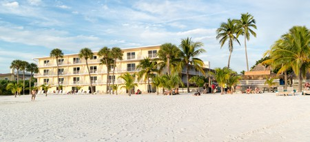 Fort Myers Beach on Estero Island at west coast of Florida.