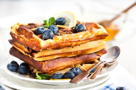 Try Candlelight's blueberry waffles with honey