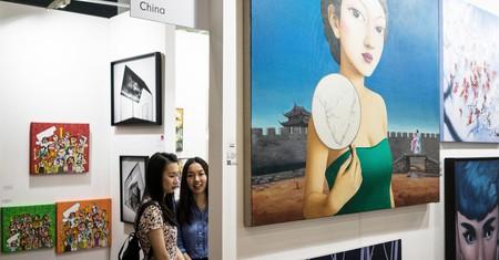 Visitors exploring the exhibits at the Affordable Art Fair in Hong Kong