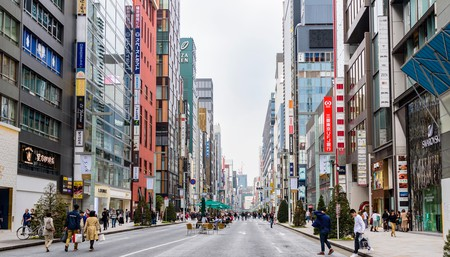 Chuo-dori Street is a shopper's paradise in Ginza, Tokyo
