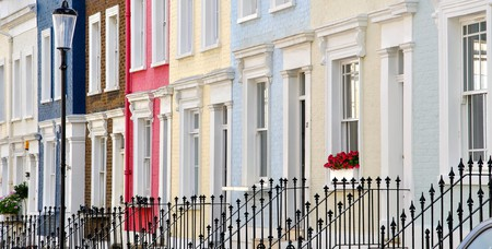 Colourful terraced houses line Hillgate Place in Kensington, London