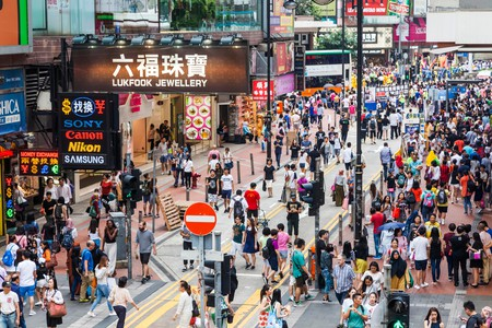 Crowds of shoppers in Hong Kong's Causeway Bay