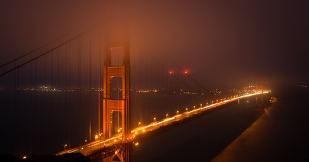 Golden Gate Bridge at night in San Francisco, California, USA.