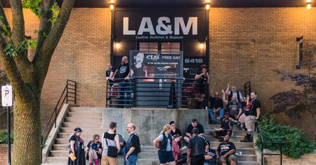 People gather outside the Leather Archives and Museum in Chicago