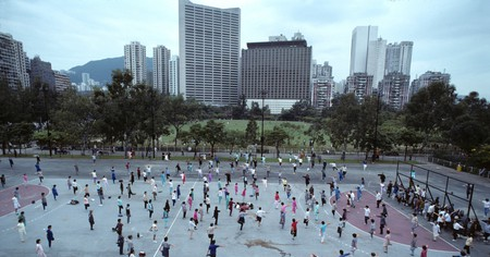 Morning tai chi exercise class in Hong Kong's Central Park