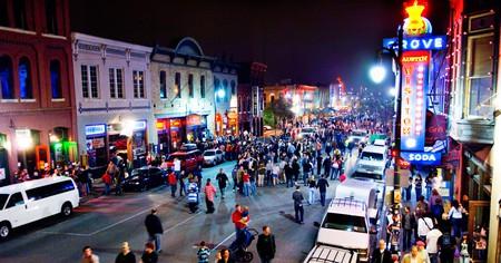 Revelers crowd Sixth Street in Austin during SXSW