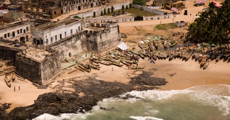 West of the city of Accra, the Ghanaian coast is alive with fishing boats and people bustling around a 15th-century fort