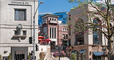 Luxury boutiques, like Tiffany & Co., line Rodeo Drive in Beverly Hills