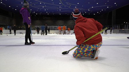 Still from Culture Trip Social Video. Brooklyn Lakeside Curling Club, Brooklyn, New York, USA.