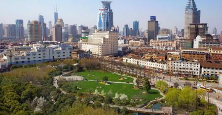 Skyline over inner city park. Shanghai, China.